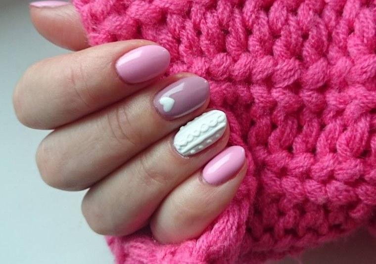 diseño de uñas sueter rosa