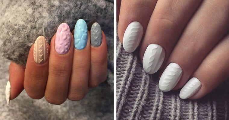 diseño de uñas tendencia sueter