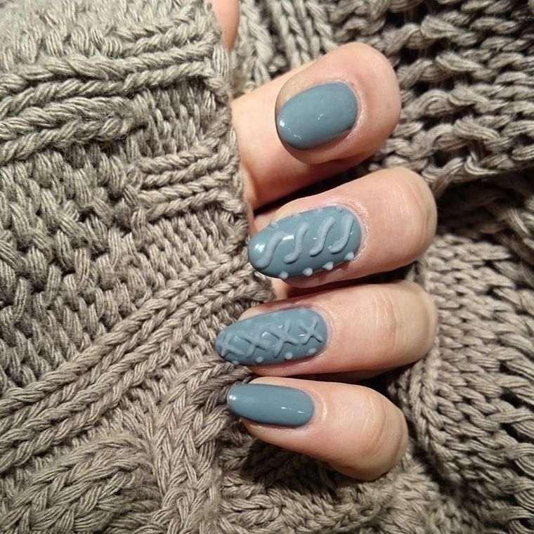diseño uñas sueter tejido