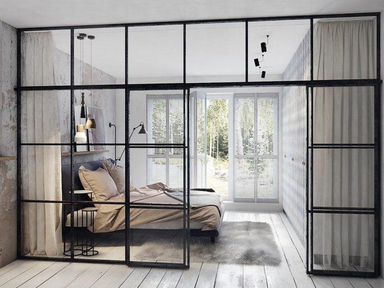 dormitorio-paredes-cristal-acero-negro