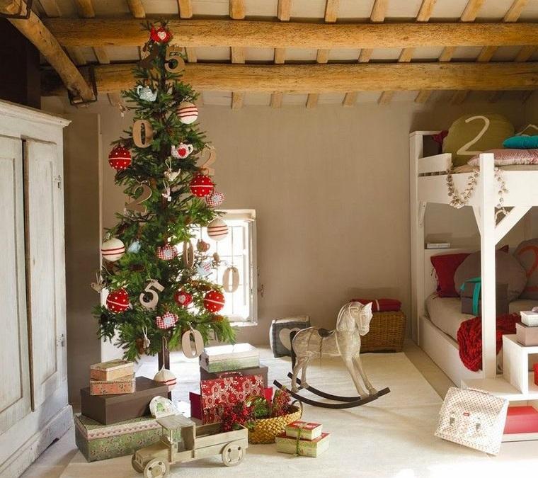 dormitorios infantiles con arbol navideño