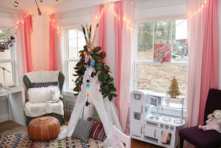 dormitorios infantiles con tipi navideño