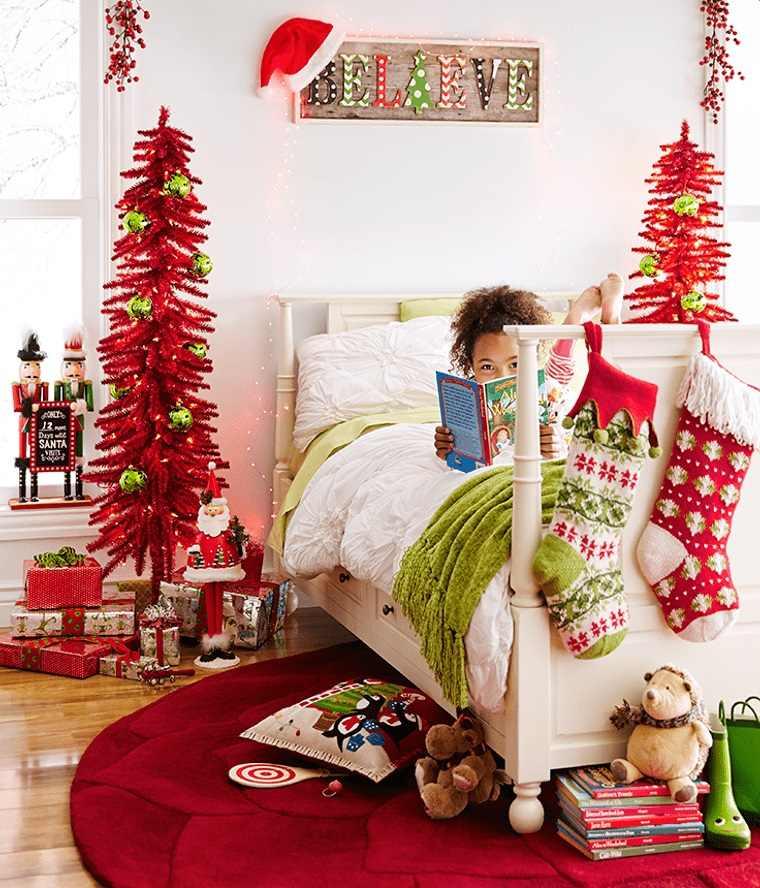 dormitorios infantiles navidad blanco rojo