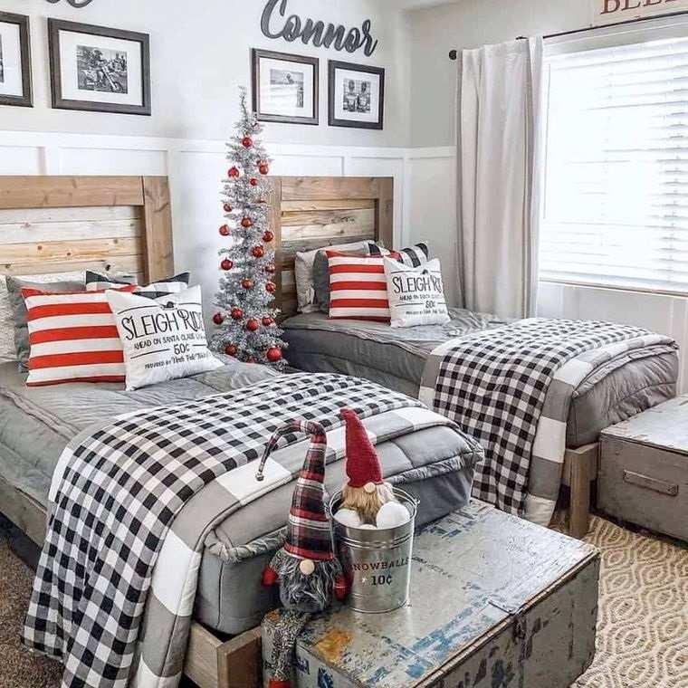 dormitorios infantiles navidad rojo gris