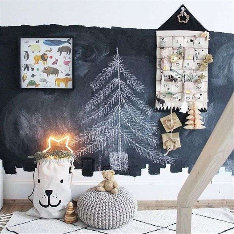 dormitorios infantiles pared navideña