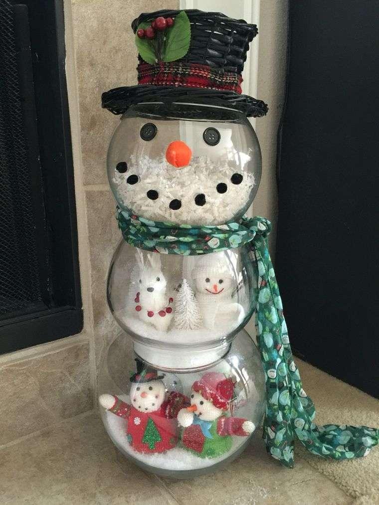 manualidades fáciles muñeco de nieve cristal