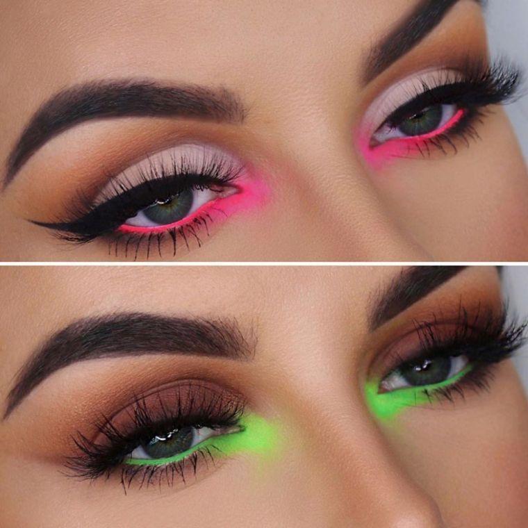 tipos de maquillaje colores neon 2021