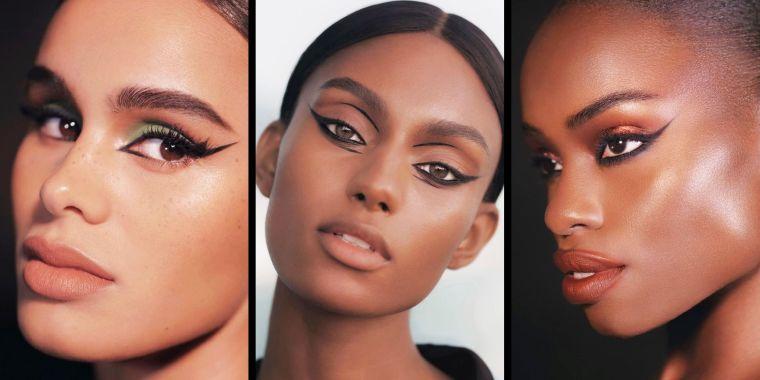 tipos de maquillaje delineado negro de ojos