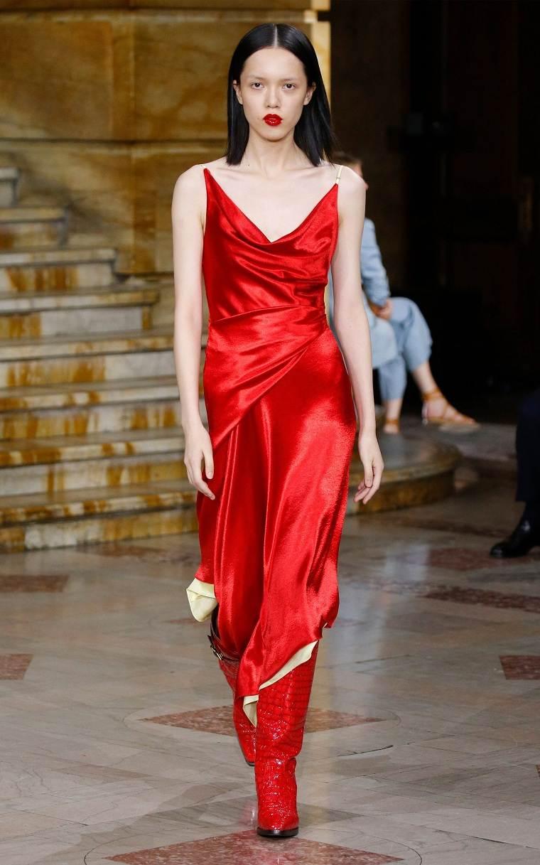 vestido-rojo-satinado-ideas