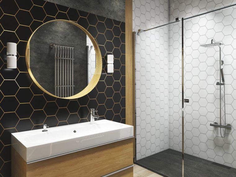 muebles de baño modernos-2021-azulejos-blanco-negro