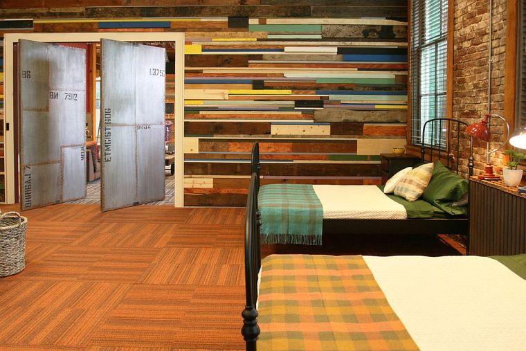 Paneles de madera para paredes interiores-dos-camas