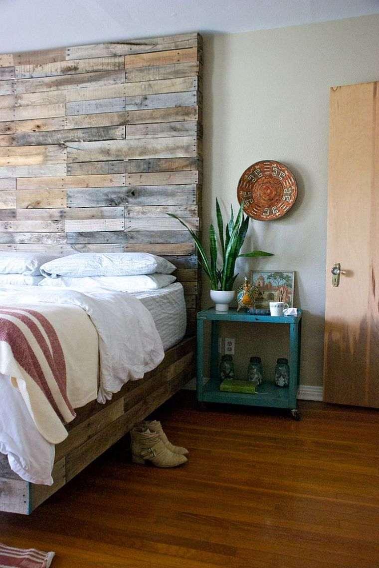 Paneles de madera para paredes interiores respaldo-cama