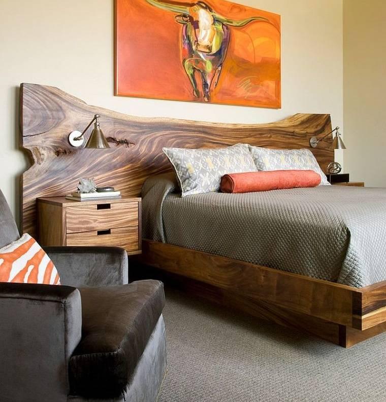 cabeceros de madera de borde vivo