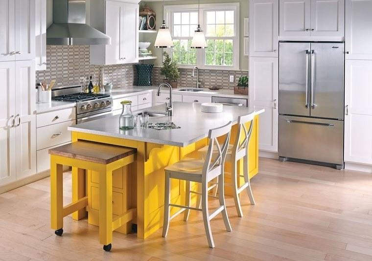 cocinas modernas blanco amarillo