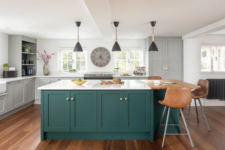 cocinas modernas blanco verde