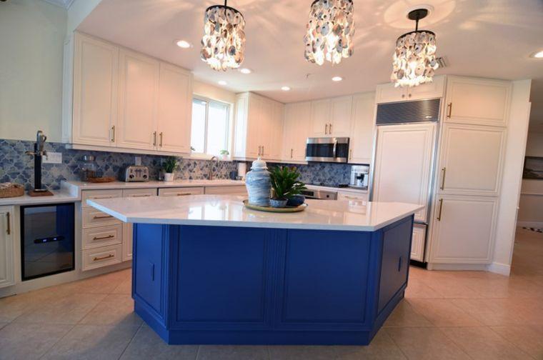 cocinas modernas isla azul