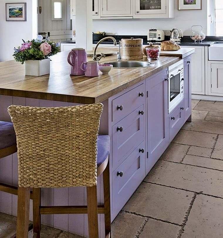 cocinas modernas isla color lila
