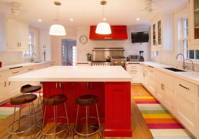 cocinas modernas isla color rojo