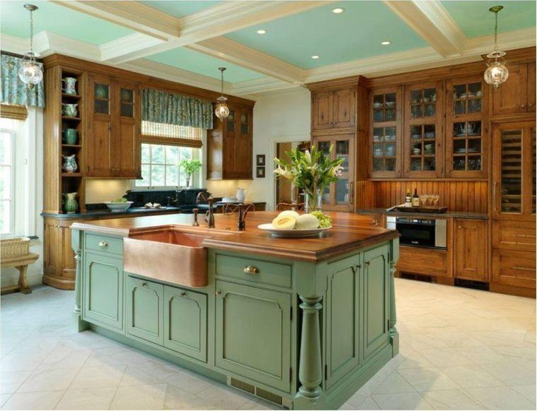 cocinas modernas isla color verde