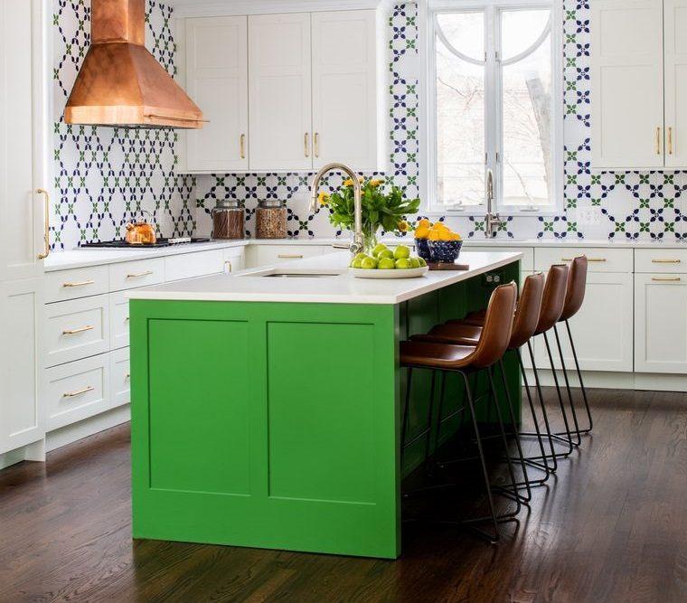 cocinas modernas isla en verde olivo