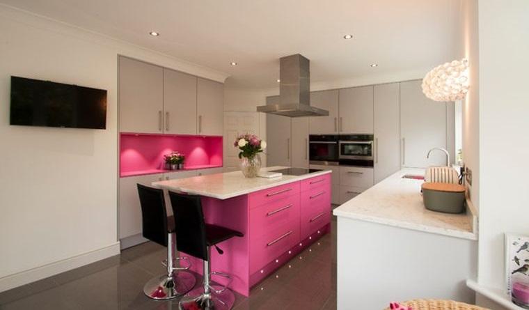 cocinas modernas isla rosa