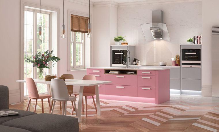 cocinas modernas rosa gris
