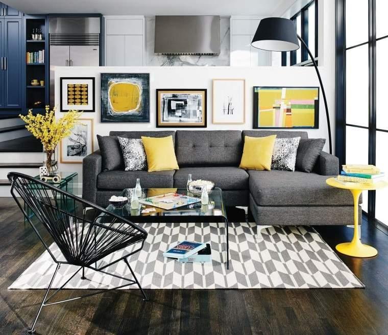 colores amarillo gris decoracion moderna