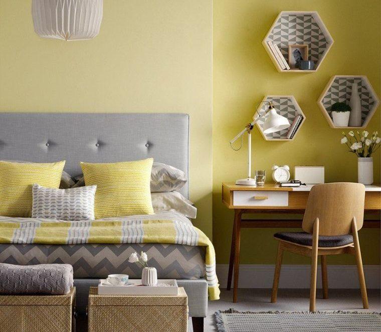colores amarillo gris dormitorio