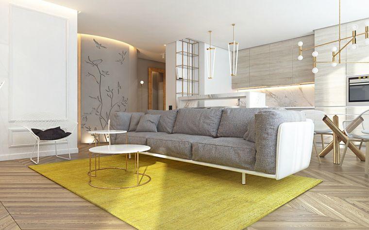 colores amarillo gris en gra sala de estar