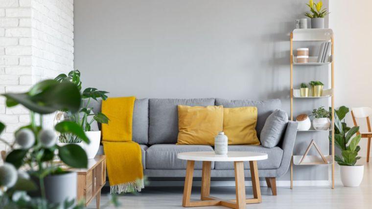 colores amarillo gris en interiores