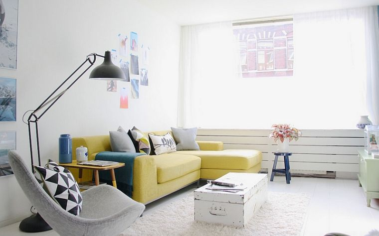 colores amarillo gris en muebles
