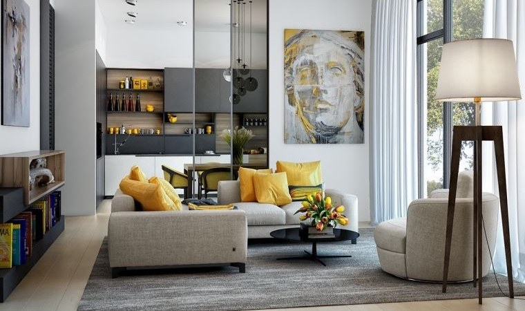colores amarillo gris ideas decoracion