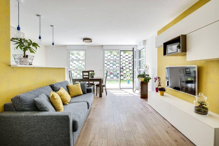 colores amarillo gris para salon moderno