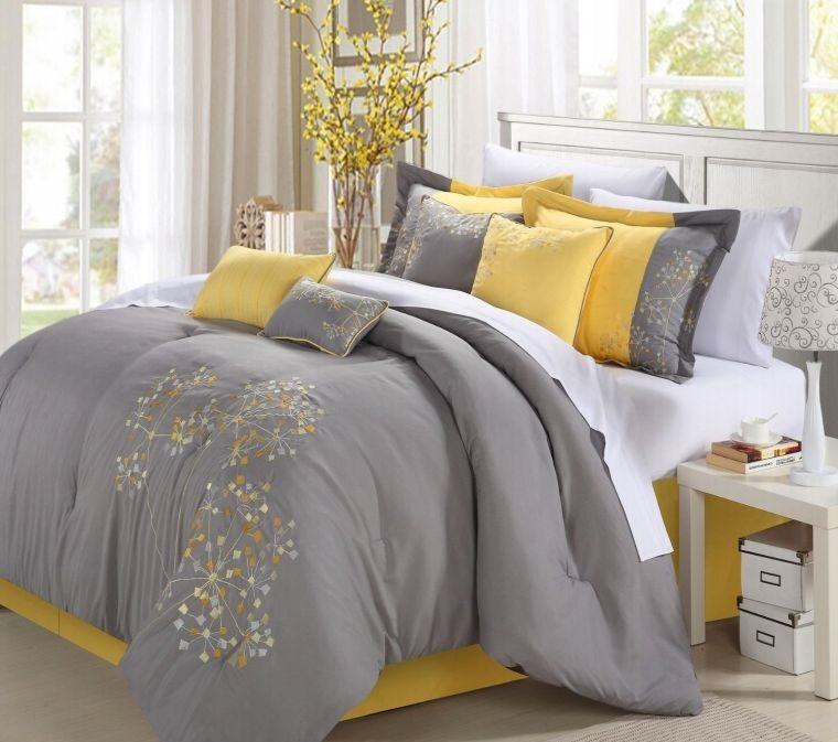 colores amarillo gris ropa de cama