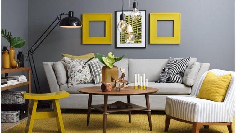 colores amarillo gris sala de estar