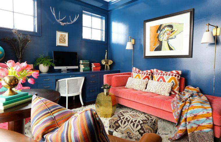decoración boho en azul