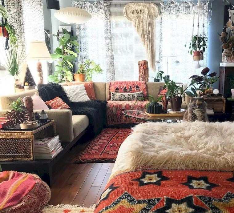 decoración boho muebles comodos