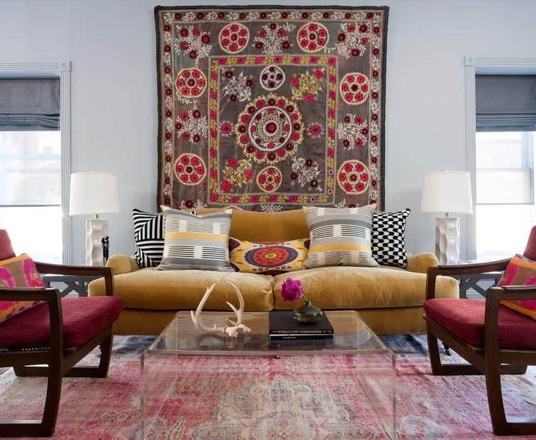 decoración boho sala de estar