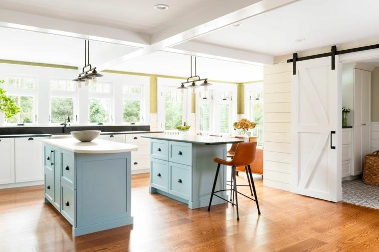 dos-islas-cocina-color-azul-claro