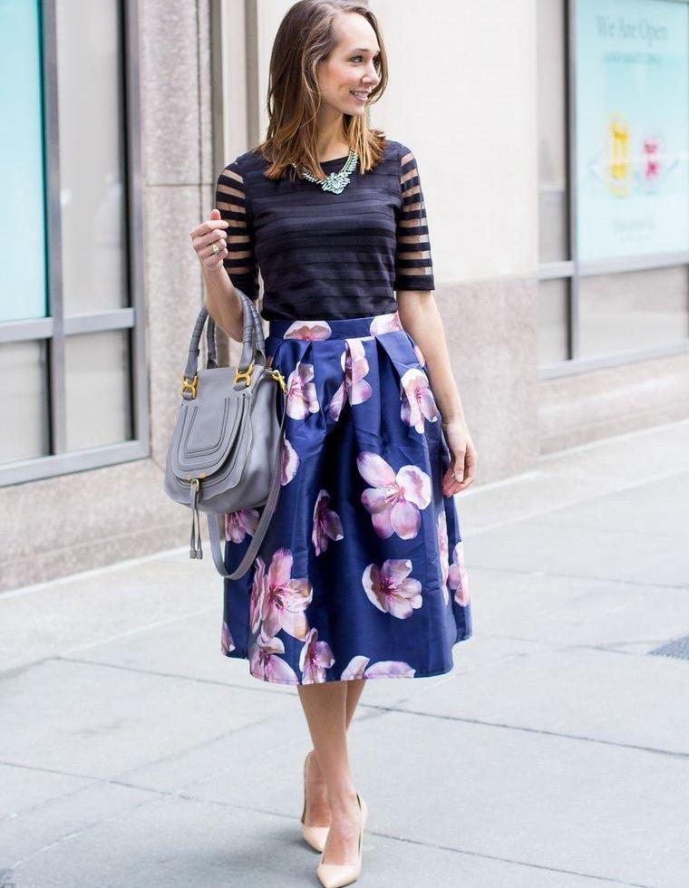 estampados florales hermosa falda