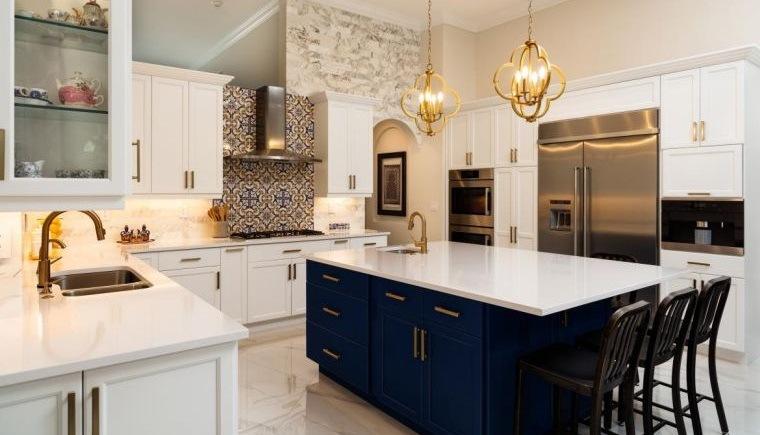 estilos de cocinas blanco azul