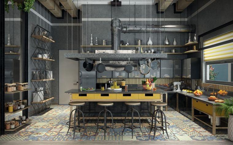 estilos de cocinas industrial