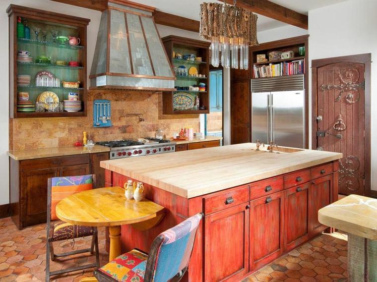 Islas de cocina modernas - color-naranja-madera