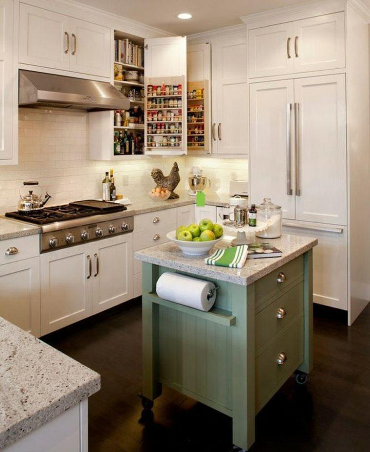 islas-de-cocina-modernas-color-verde-pequena
