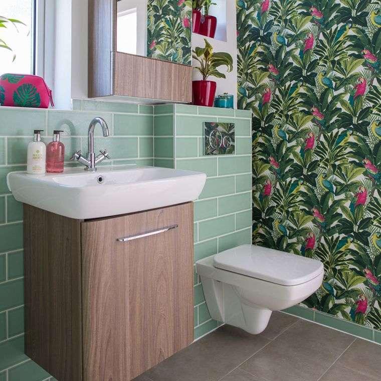 papel tapiz botanico baño