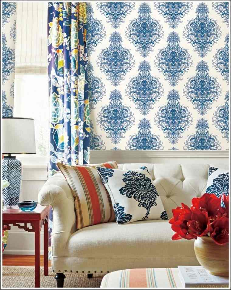 papel tapiz combinado con cortinas