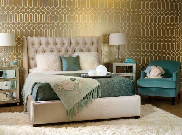 papel tapiz dorado dormitorio