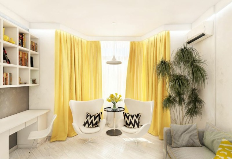 Colores que combinan con amarillo-ideas-cortinas