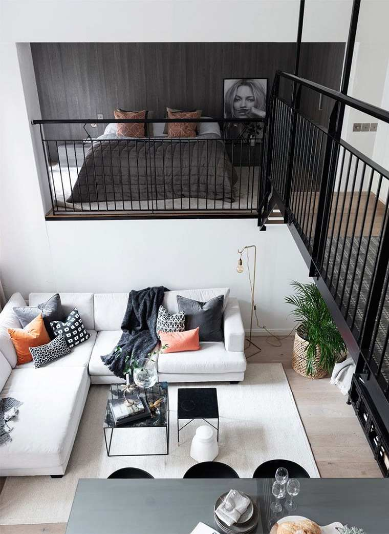 Decoracion-loft-pequeno-cama-salon