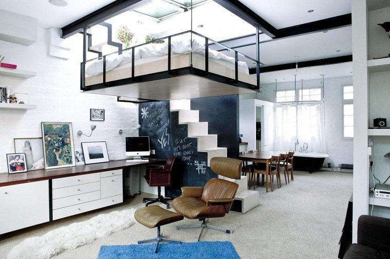 Decoración loft pequeño-espacios techo alto